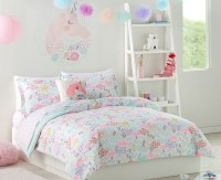 Pastel Unicorns & Flowers Girls Twin Comforter Set (5 ...