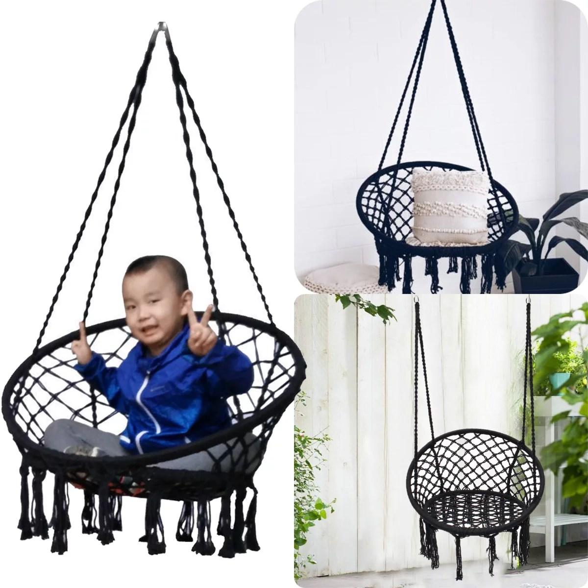swing chair benefits wheelchair yoga classes black macrame hammock hanging woven cotton rope outdoor garden 120kg patio furniture walmart com