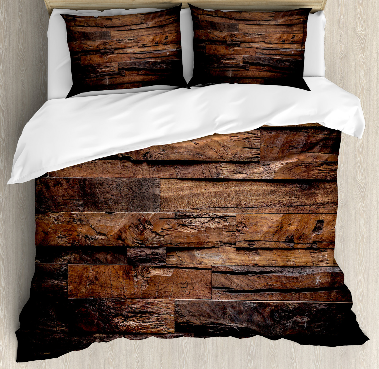 chocolate duvet cover set rough dark timber texture image rustic country theme hardwood carpentry decorative bedding set with pillow shams brown