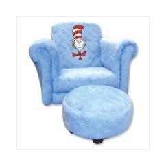 Dr Seuss Chair Hospital Transport Chairs Trend Lab Cat In The Hat Velour Stuffed And Ottoman Blue Walmart Com