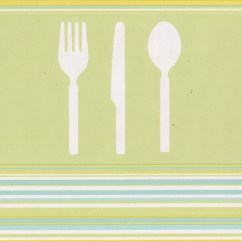 Wall Paper Borders For Kitchens How Much Are New Kitchen Cabinets White Fork Knife Spoon Olive Green Wallpaper Border Retro Design Roll 15 X 7