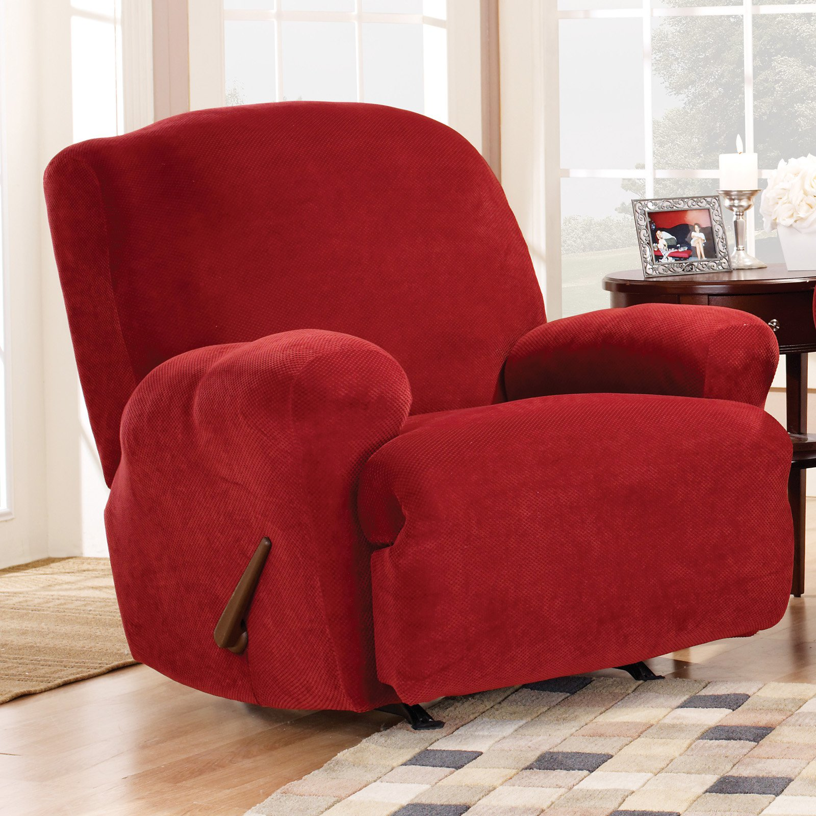 cotton recliner chair covers sand bag sure fit stretch pique lift slipcover medium walmart com