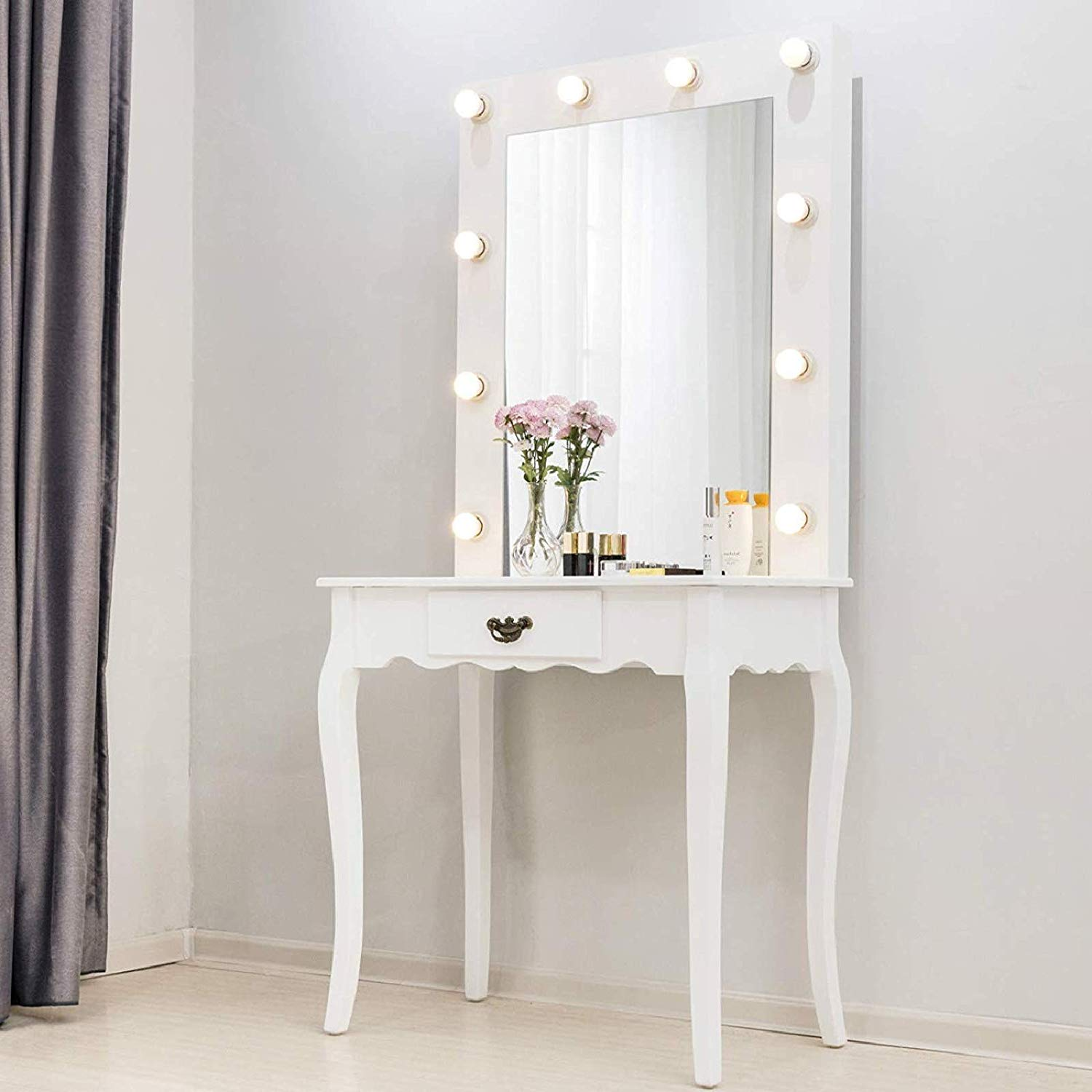 zimtown white vanity set makeup dressing table with 10 warm led lights makeup mirror drawer for bedroom white