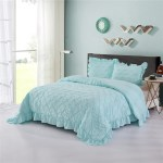 Hig Shabby Chic Bedding Set Aqua Lace Ruffled All Season Comforter Prewashed Ultra Soft Hypoallergenic And Warm Sense Pintuck Pinch Pleat Design Bedding With Two Shams Brianna King Aqua