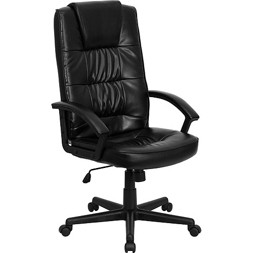 walmart leather office chair Leather Executive High-Back Office Chair, Black - Walmart.com