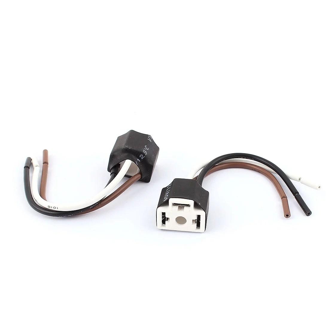 hight resolution of car headlight bulb lamp h4 socket wiring wire harness connector adapter 2pcs walmart com