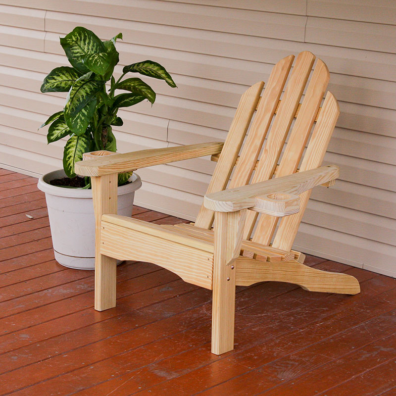 unfinished adirondack chair serta chairs office amish heavy duty 800 lb pressure treated with cupholders walmart com