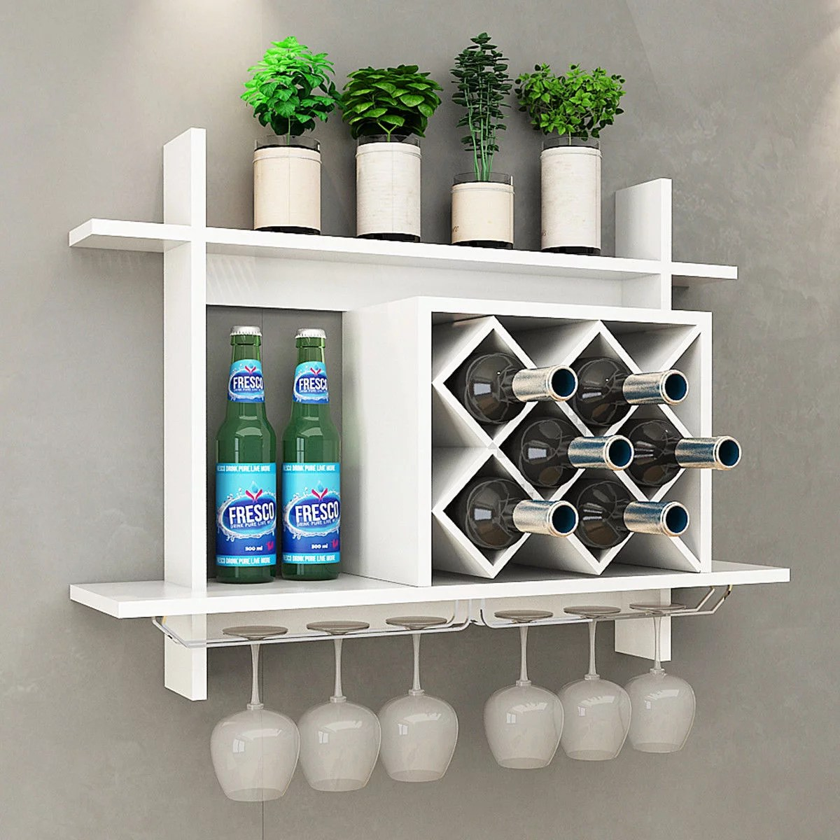 Gymax Wall Mount Wine Rack W Glass Holder Storage Shelf