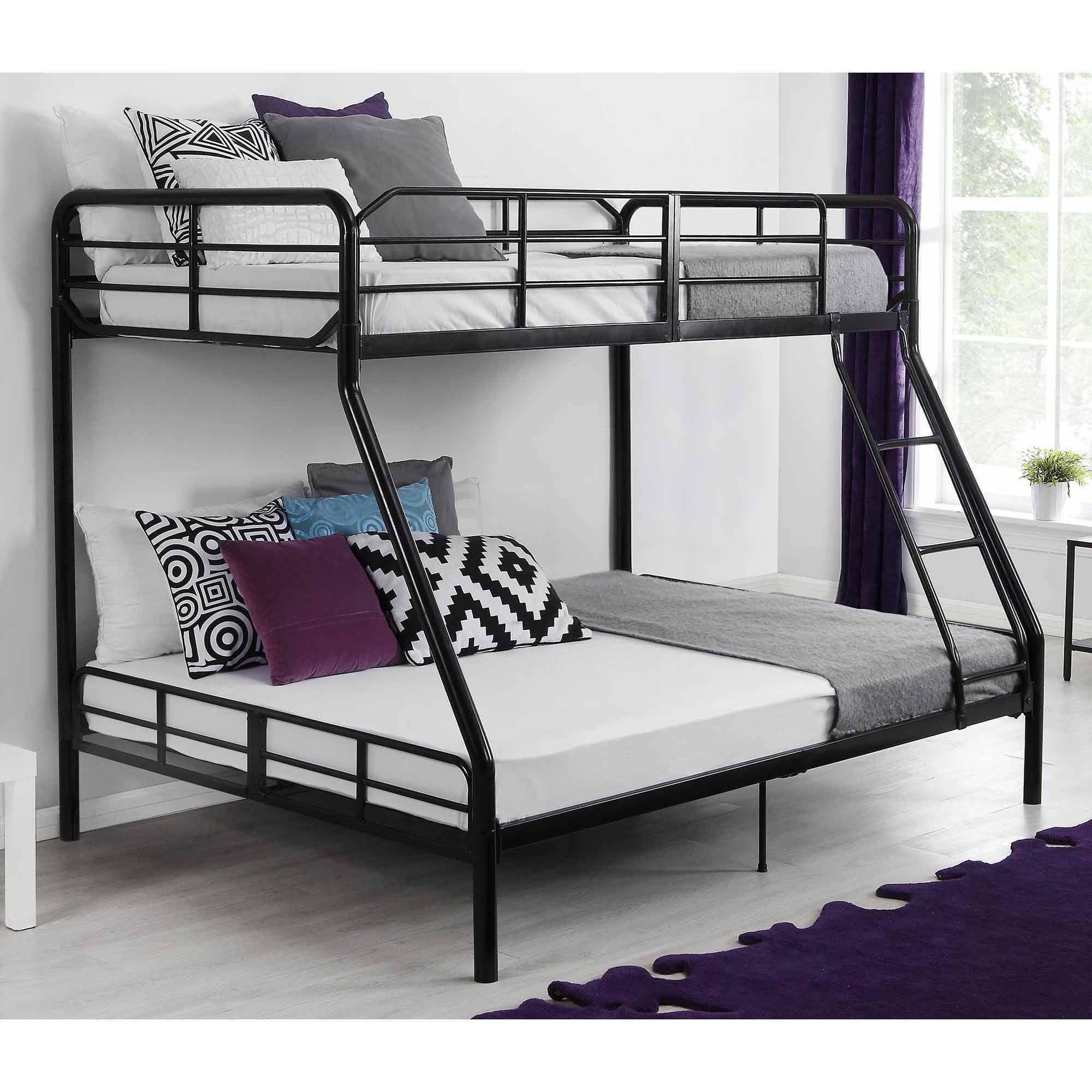 Mainstays Twin Over Full Metal Sturdy Bunk Bed Black Walmart Com Walmart Com