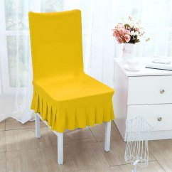 Yellow Spandex Chair Sashes Hanging Urban Ladder Stretchy Ruffled Skirt Short Dining Room