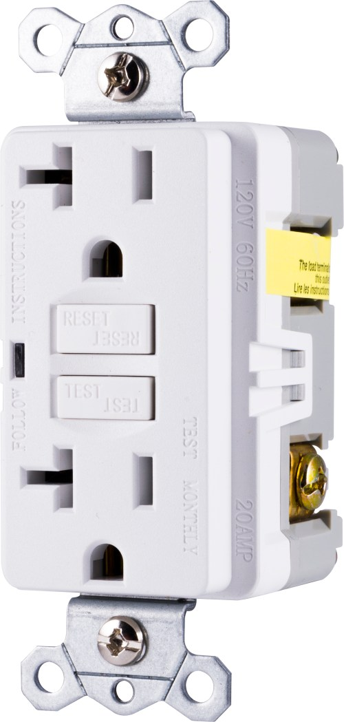 small resolution of ge ultrapro in wall gfci receptacle power outlet 20amp self testing white 32077 walmart com