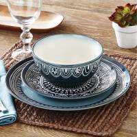 Better Homes and Gardens Teal Medallion 12-Piece ...