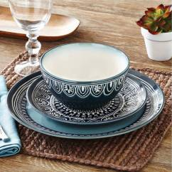Kitchen Dish Sets Small Islands On Wheels Better Homes Gardens Teal Medallion 12 Piece Dinnerware Set Walmart Com