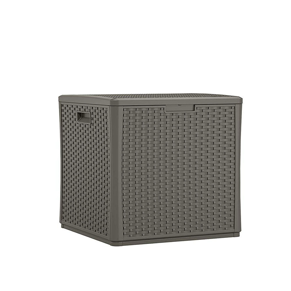 suncast 60 gallon outdoor resin wicker deck storage cube stoney gray