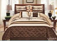 7 Pieces Complete Bedding Ensemble Beige Brown Gold Luxury ...