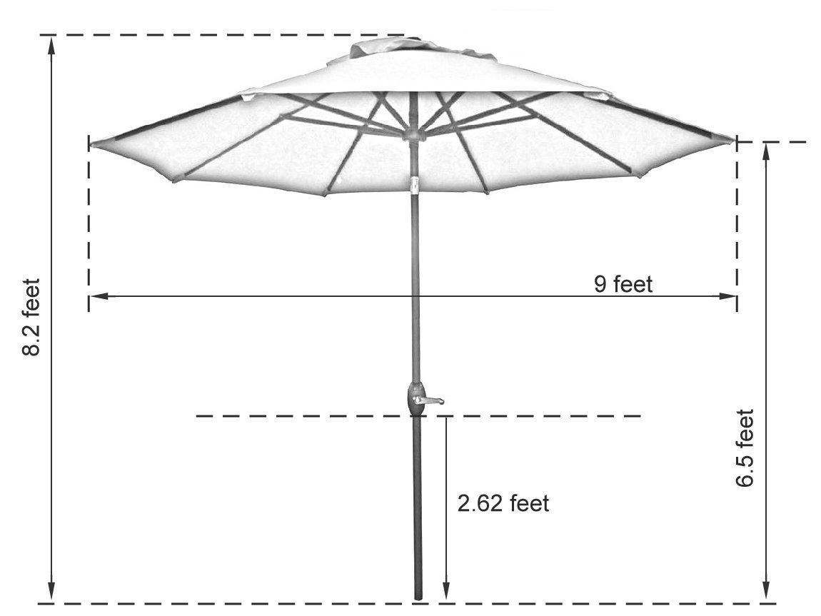 abba patio 9 ft fade resistant sunbrella fabric aluminum patio umbrella with auto tilt and crank 8 ribs turquoise