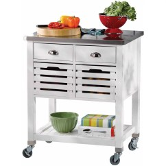 Stainless Kitchen Cart Island With Chairs Linon Robbin Wood Steel Top 36 Inches Tall Multiple Colors Walmart Com