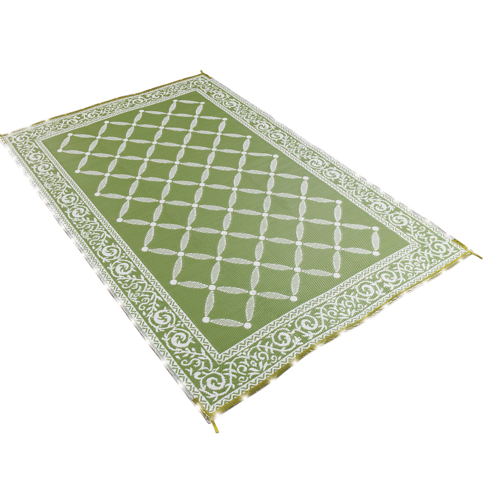 lighted reversible outdoor patio area rug features sparkling lights colorful comfort scrolling vine border battery operated lights outside mat