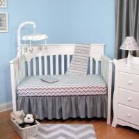 Blue & Gray Chevron 4 Piece Baby Crib Bedding Set ...