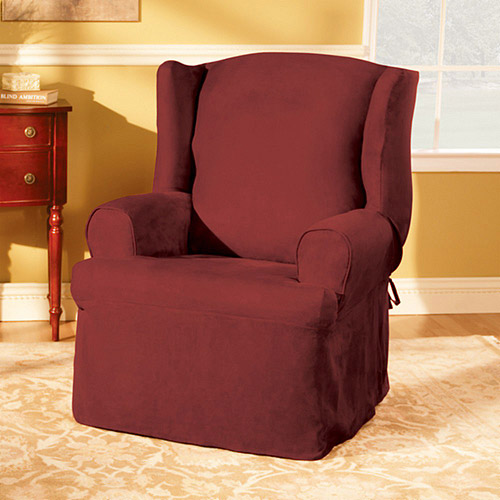 u shaped chair slipcovers stacking garden covers sure fit soft suede wing slipcover walmart com