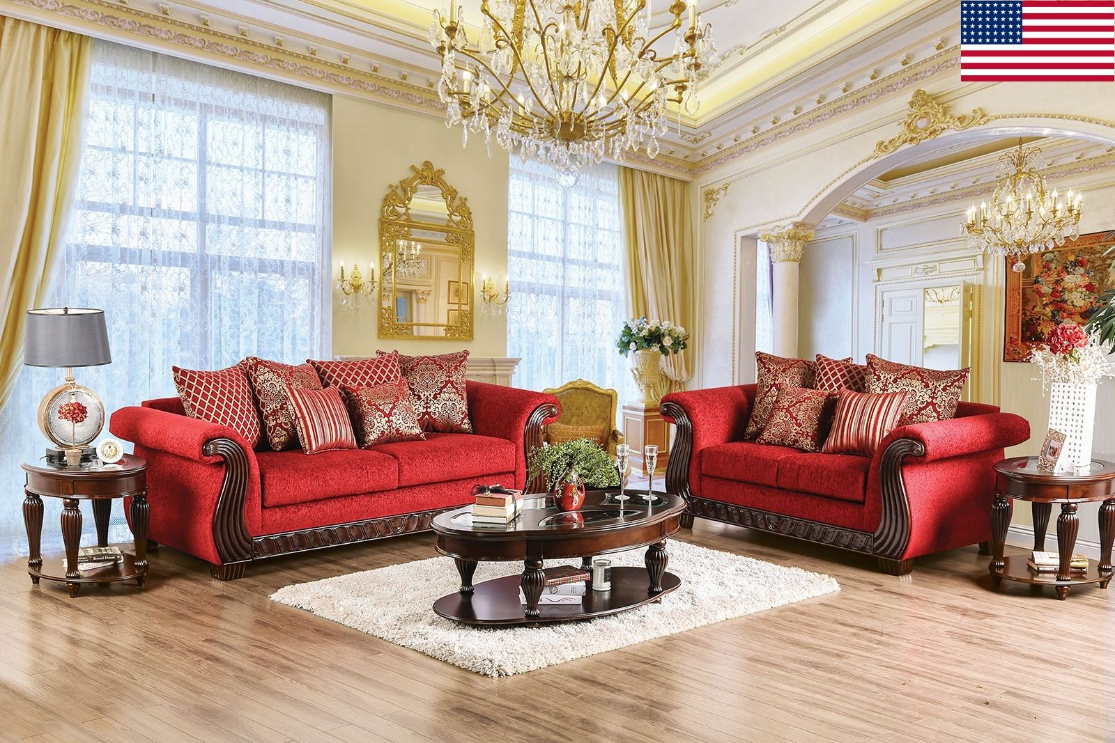 Red Living Room Chair Traditional Formal Living Room Furniture 2pc Sofa Set Ruby Red Sofa Loveseat W Pillows Chenille Fabric Rolled Arms Usa