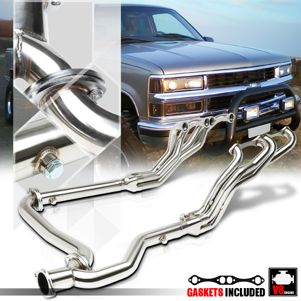 hight resolution of ss long tube exhaust header manifold y pipe for 92 00 chevy c k suburban 5 0 5 7 93 94 95 96 97 98 99 walmart com
