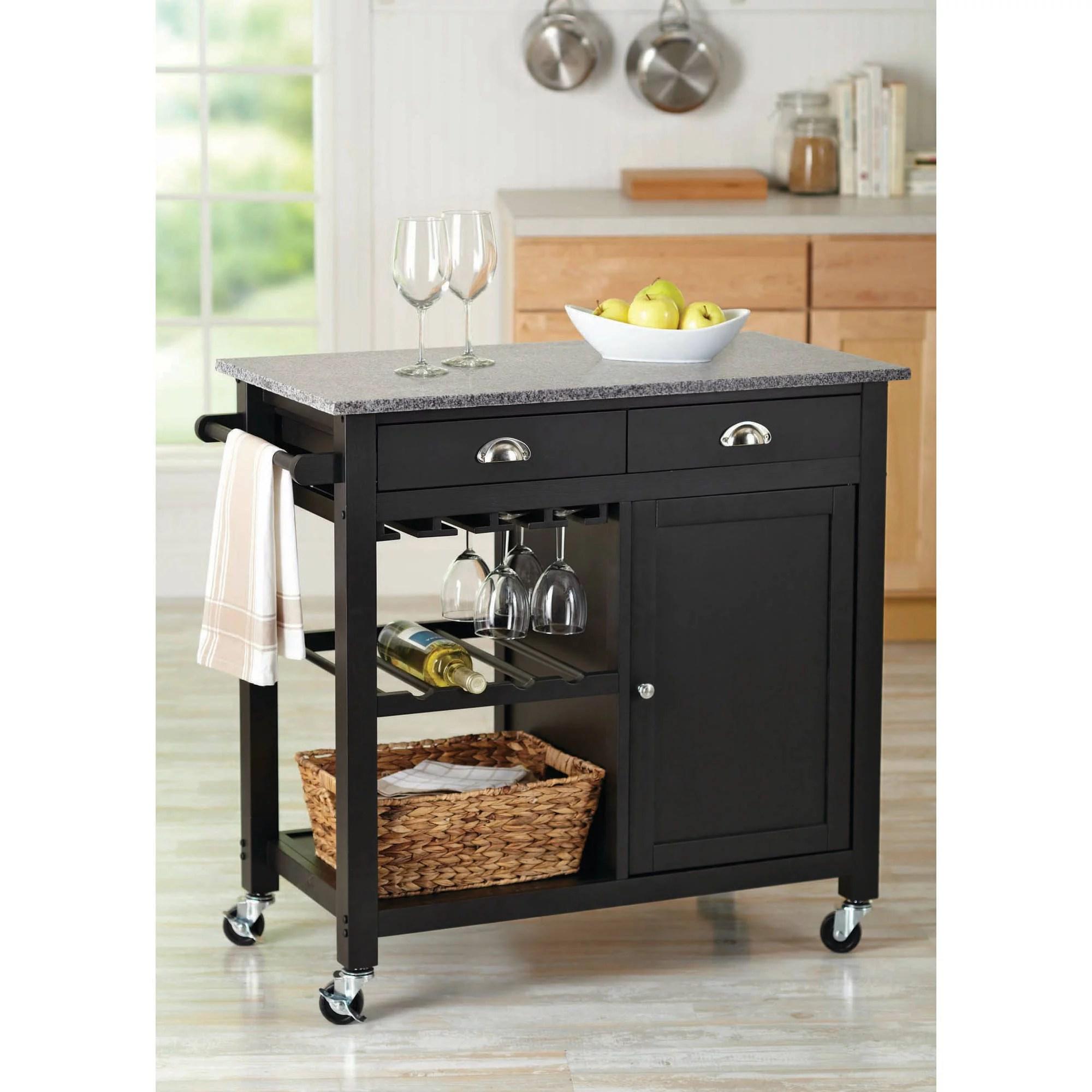 Better Homes And Gardens Deluxe Kitchen Cart Island Black Walmart Com