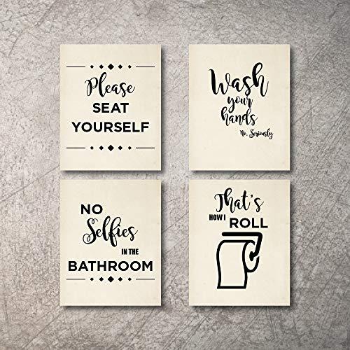 Bathroom Decor Wall Art 4 Prints No Selfies In Bathroom Signs Set Not Framed Funny Artwork