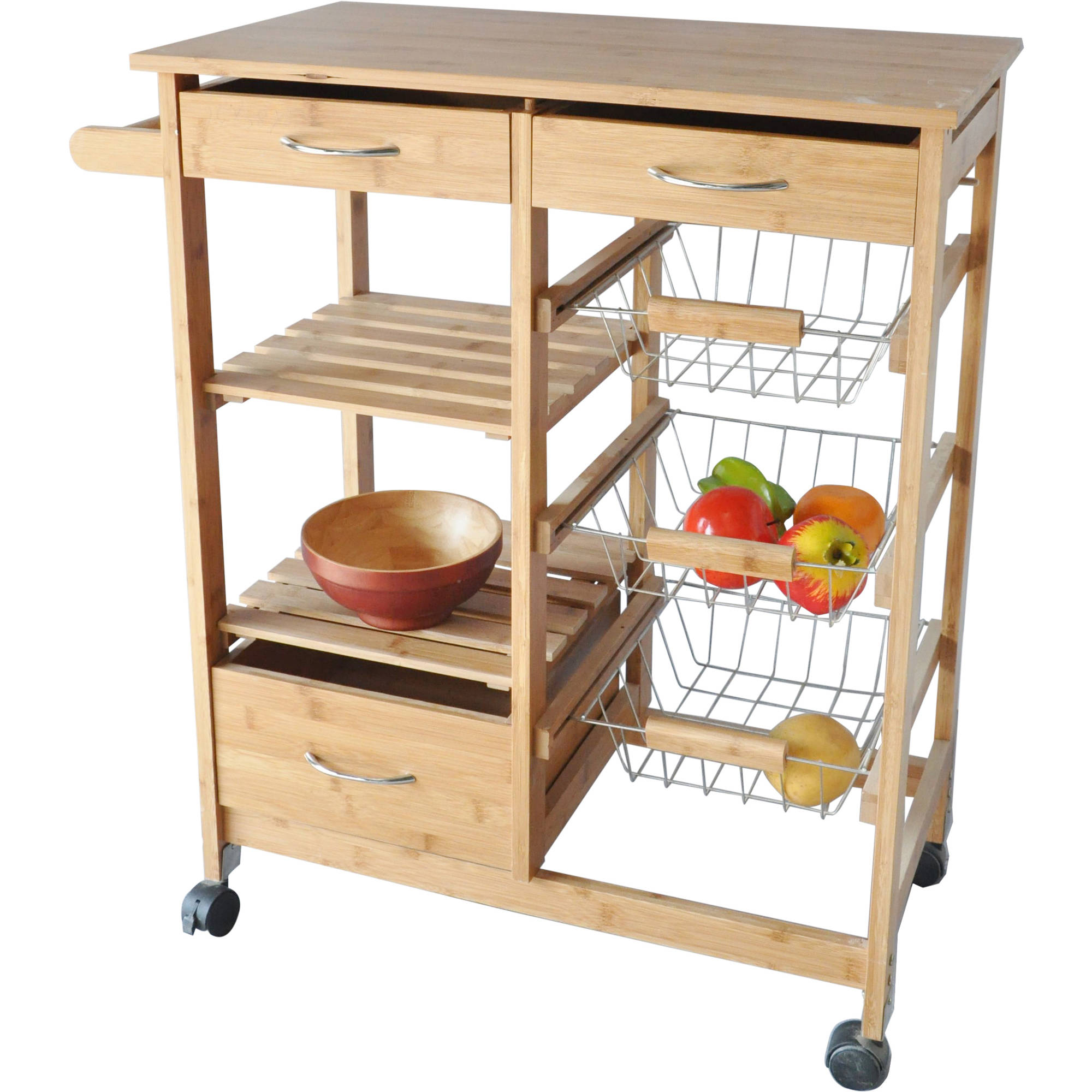 kitchen trolley cost of replacing cabinets costway rolling cart steel top removable tray w storage basket drawers walmart com