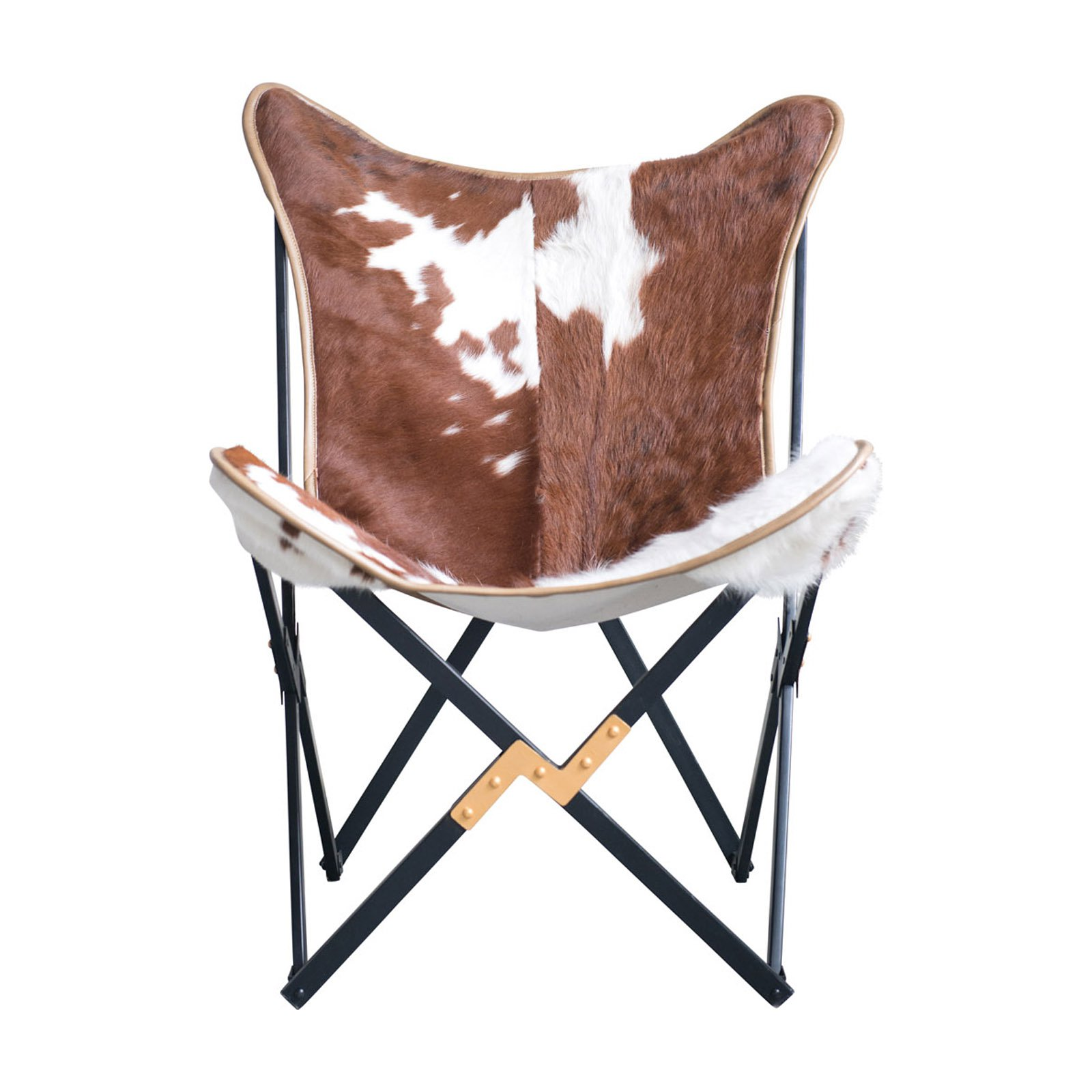 Butterfly Folding Chair 3r Studios Cowhide Folding Butterfly Chair With Black And Gold Metal Base