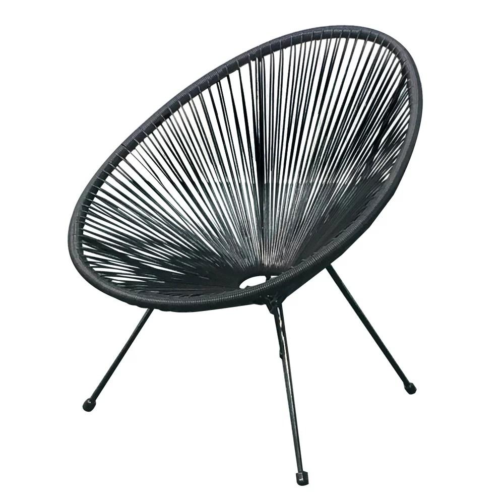 acapulco sun oval outdoor patio chair all weather patio indoor outdoor acapulco weave lounge chair 2 piece set black by e joy