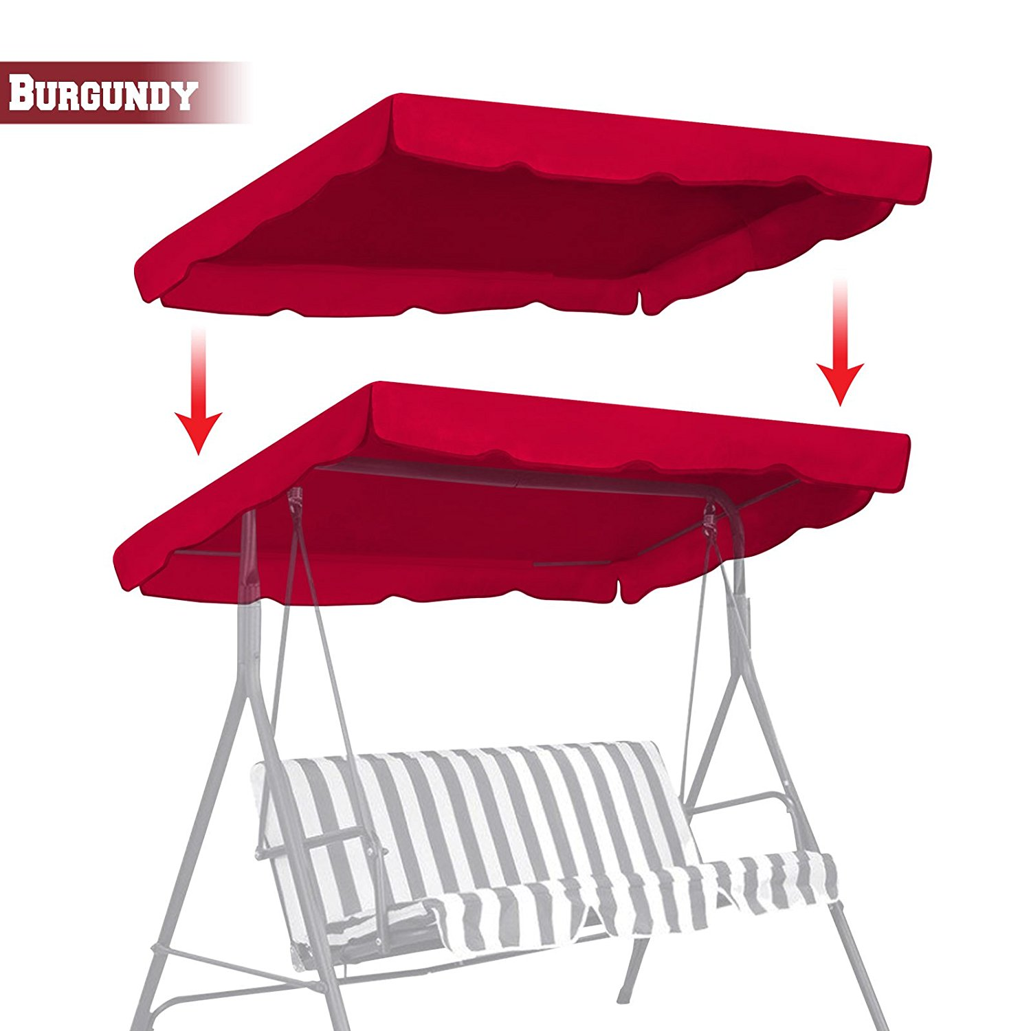 strong camel new patio outdoor 77 x43 swing canopy replacement porch top cover seat furniture burgundy walmart com