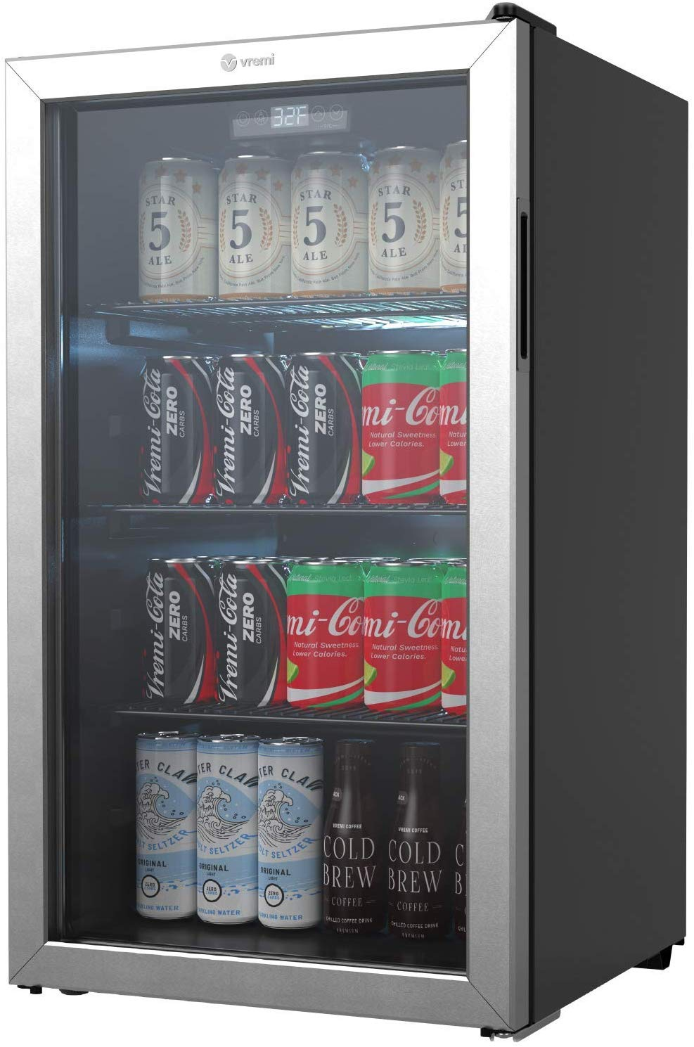 vremi 110 to 130 can beverage refrigerator and cooler 3 6 cu ft capacity mini fridge with glass door for soda beer or wine small drink dispenser