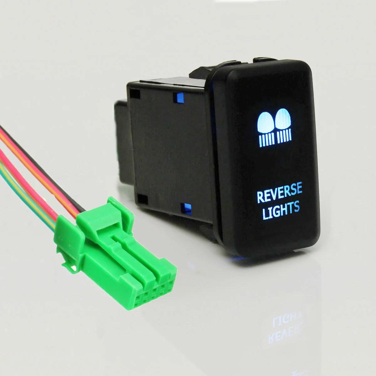 hight resolution of matcc 12v led blue light push button switch on off w 4 wire wiring harness for landcruiser hilux prado cruiser fj led light bar driving reverse spot work