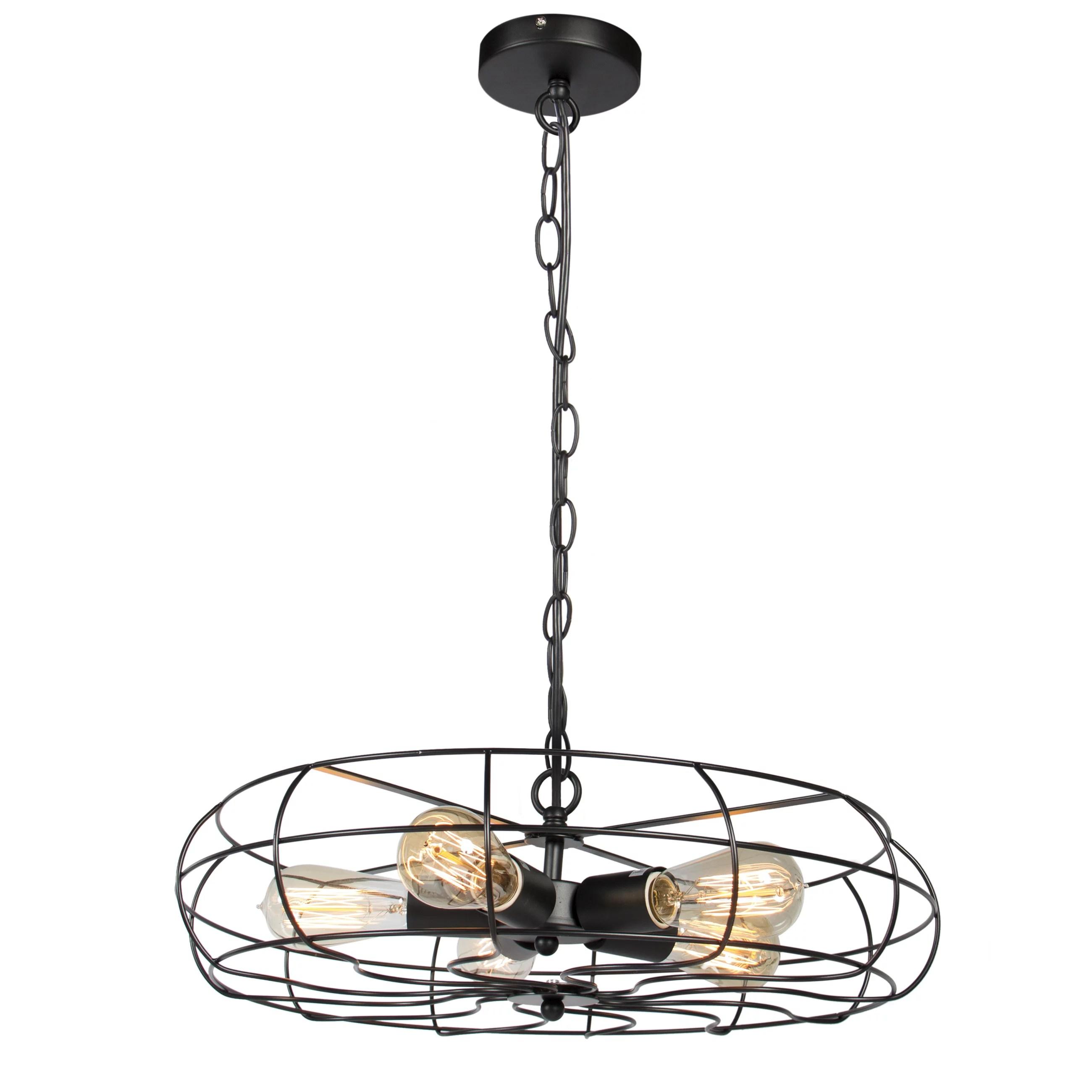 Industrial Vintage 5 Chandelier Ceiling Lighting Lights Metal Hanging Fixture
