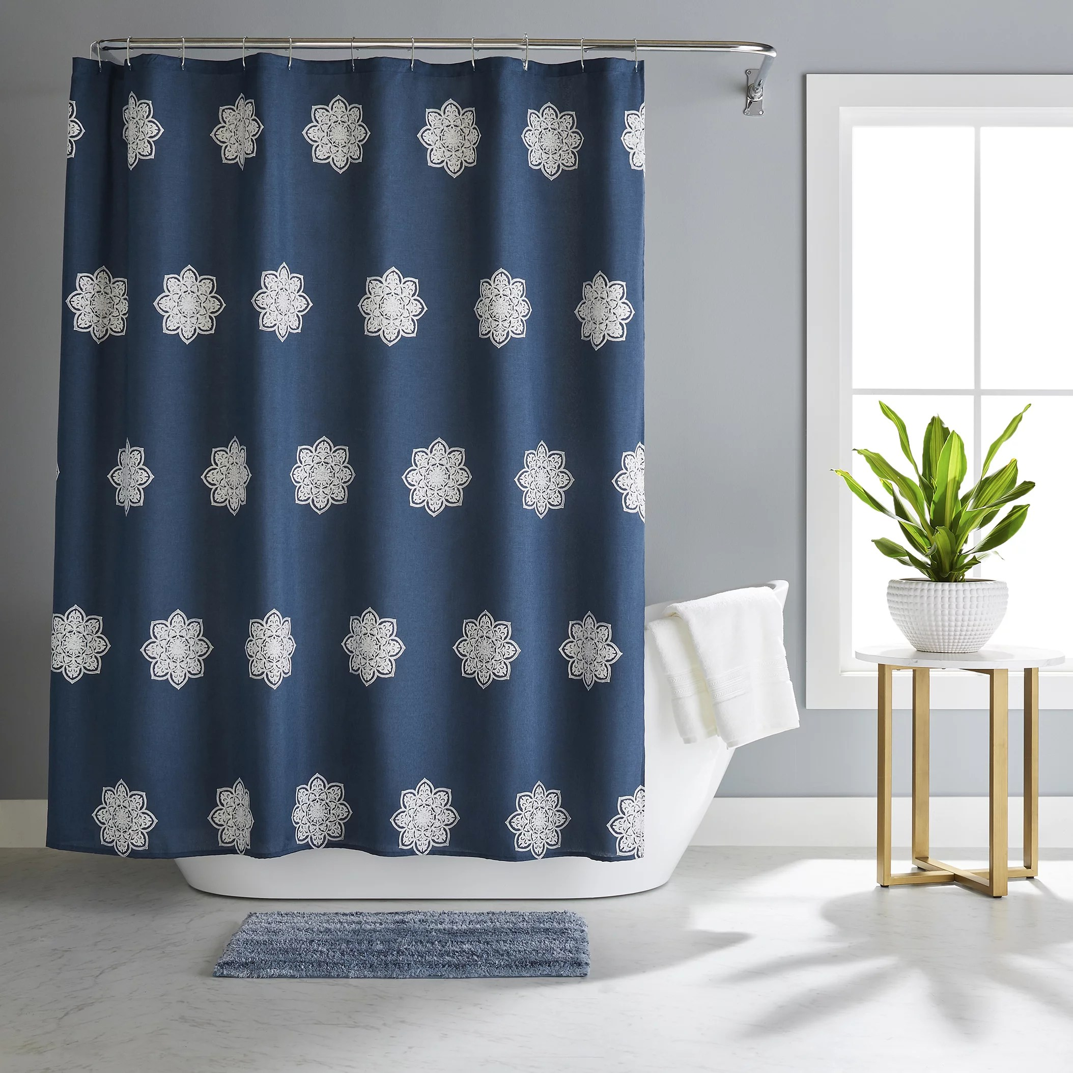 better homes gardens maura embroidered medallion polyester shower curtain bath set navy 14 pieces