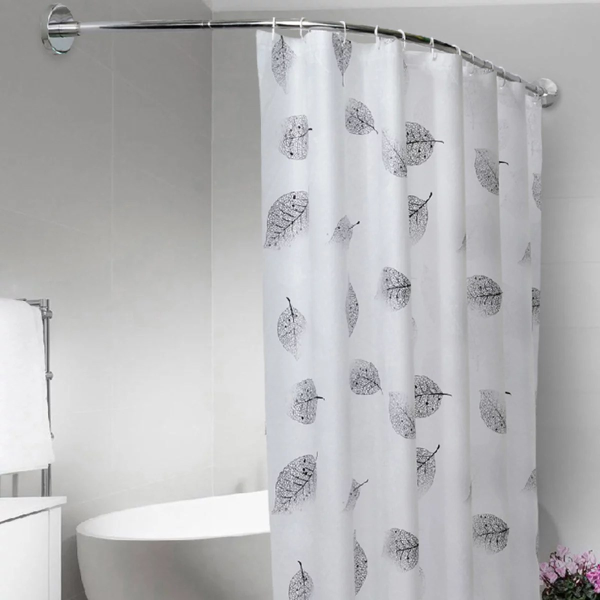 extendable corner curved shower curtain rod pole adjustable 40 64 inch no punching rail rod with 12 hooks shower curtain and glue are not included