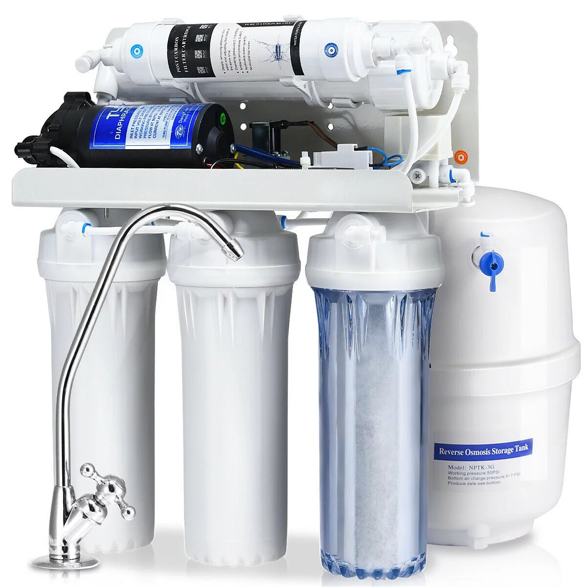 goplus 5 stage ultra safe reverse osmosis drinking water filter system purifier white
