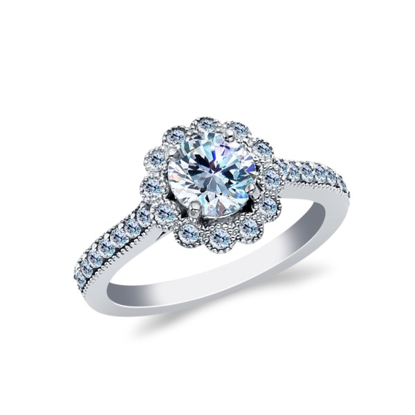 14k White Solid Gold 1 Ct. Cut Cubic Zirconia Cz