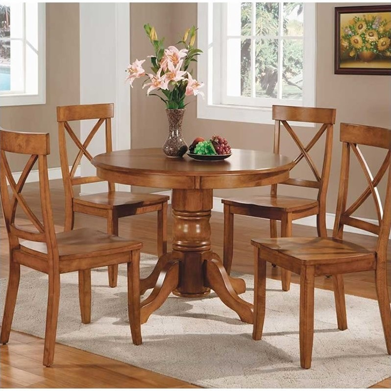 oak kitchen table 3 piece bistro set home styles furniture cottage pedestal casual dining