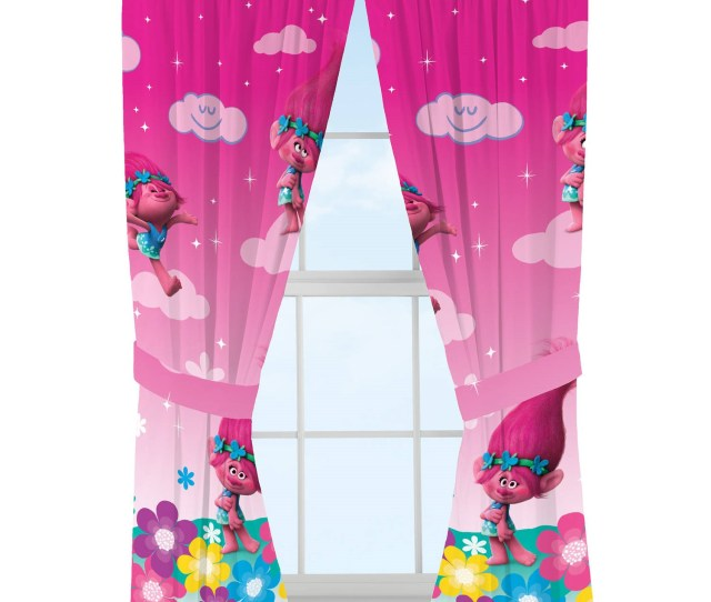 Dreamworks Trolls Jumping Rainbows Girls Bedroom Curtains