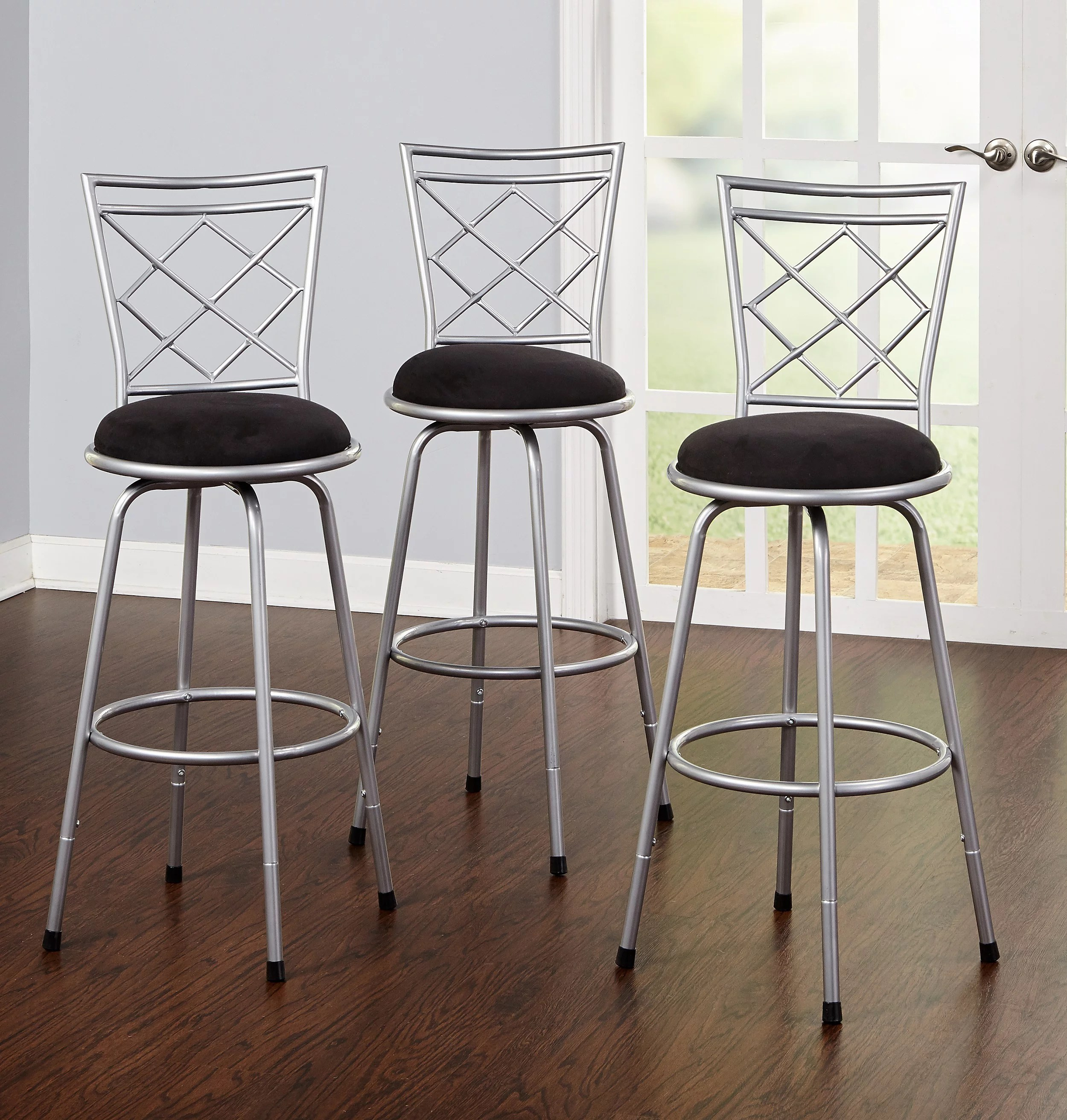 Bar Stools Set Of 3 High Seat Chairs Adjustable Swivel Kitchen Counter Chair EBay