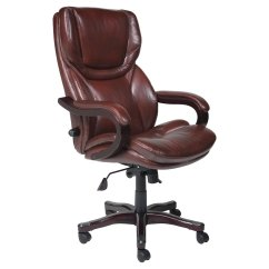 Desk Chair Brown Leather Shabby Chic Dining Chairs Serta Executive Big Tall Bonded Office Walmart Com