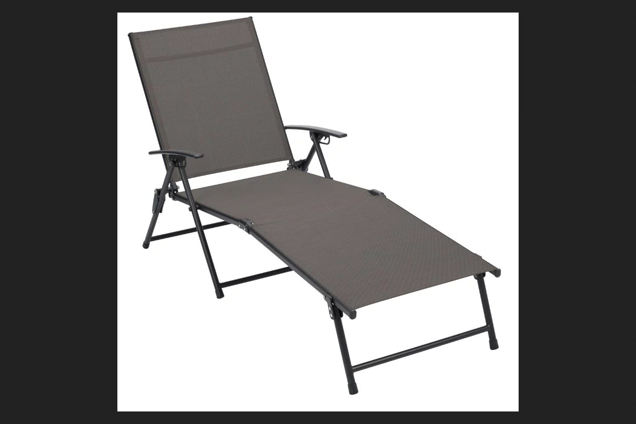 Living Accents Sling Folding Chaise Tan  Walmartcom