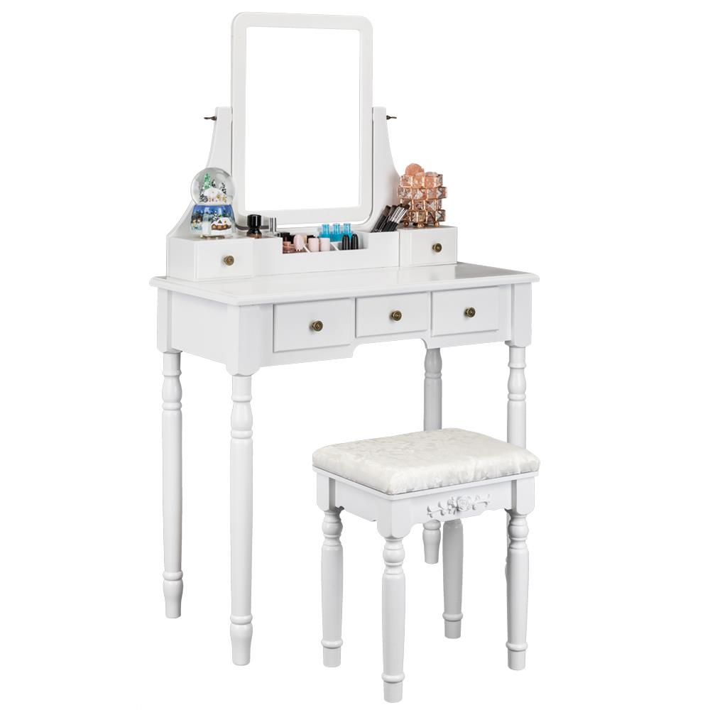 ktaxon 5 drawers vanity table set with mirror cushioned stool makeup vanity dressing table 2 dividers movable organizers white