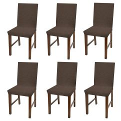 Dining Chair Covers In Store Vintage Table And Chairs Linen Luxurious Damask Cover Form Fitting Soft Parson Slipcover Brown Set Of 6 Walmart Com