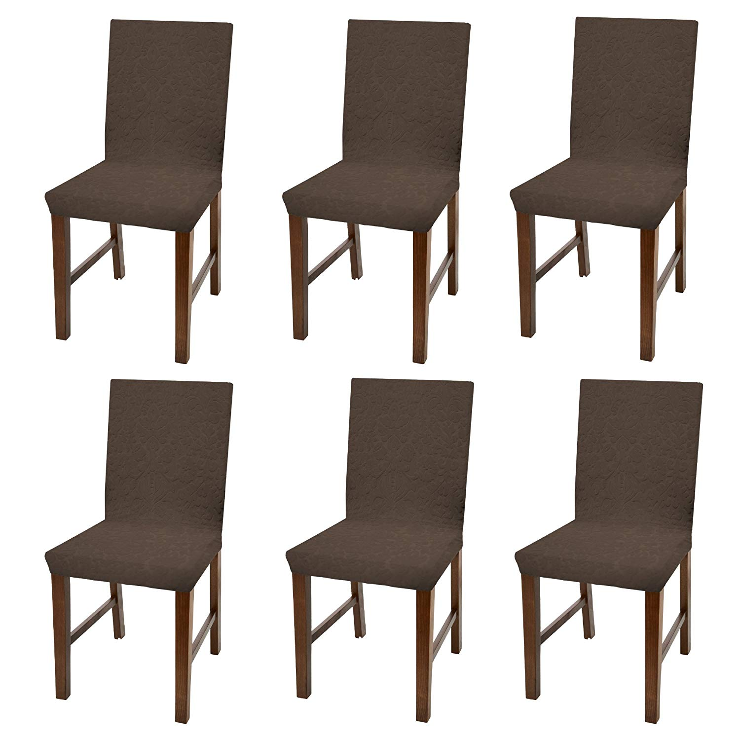 Damask Dining Chair Linen Store Luxurious Damask Dining Chair Cover Form Fitting Soft Parson Chair Slipcover Brown Set Of 6