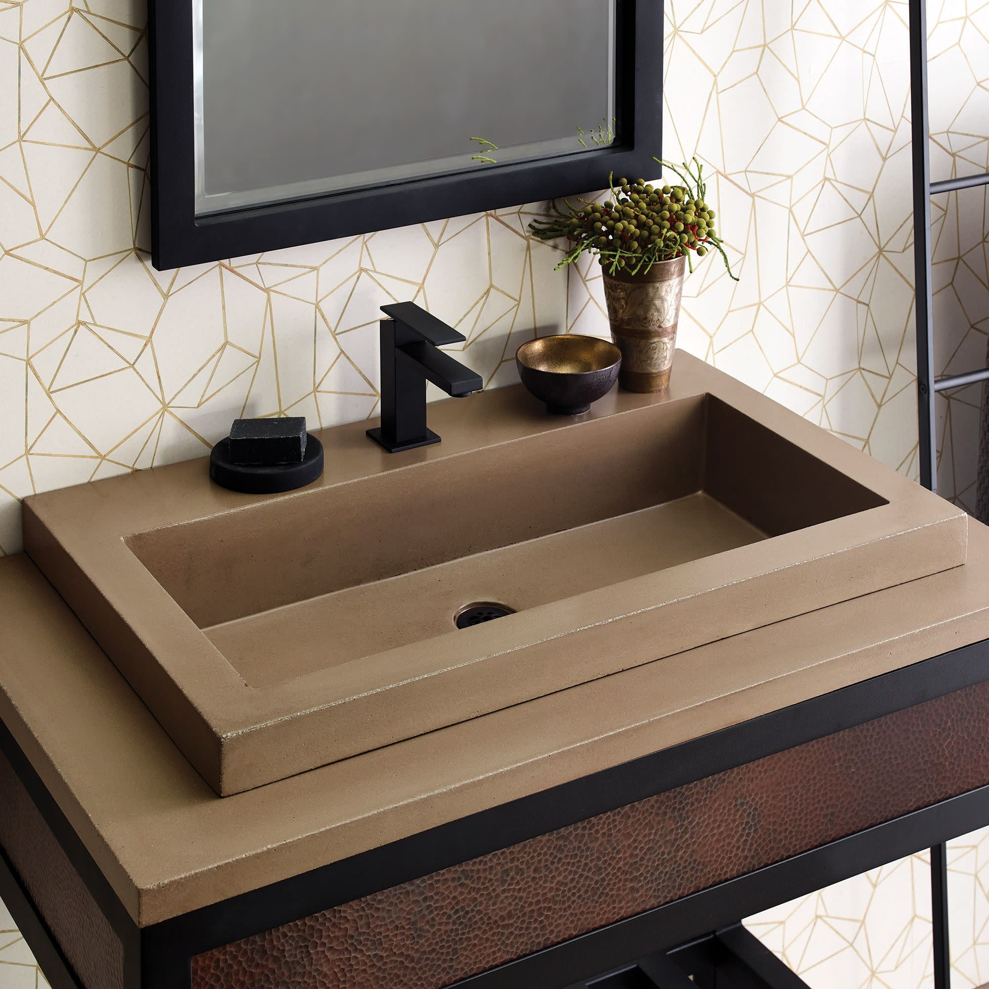 native trails nsl3019 nativestone 30 rectangular stone composite drop in bathroom sink walmart com