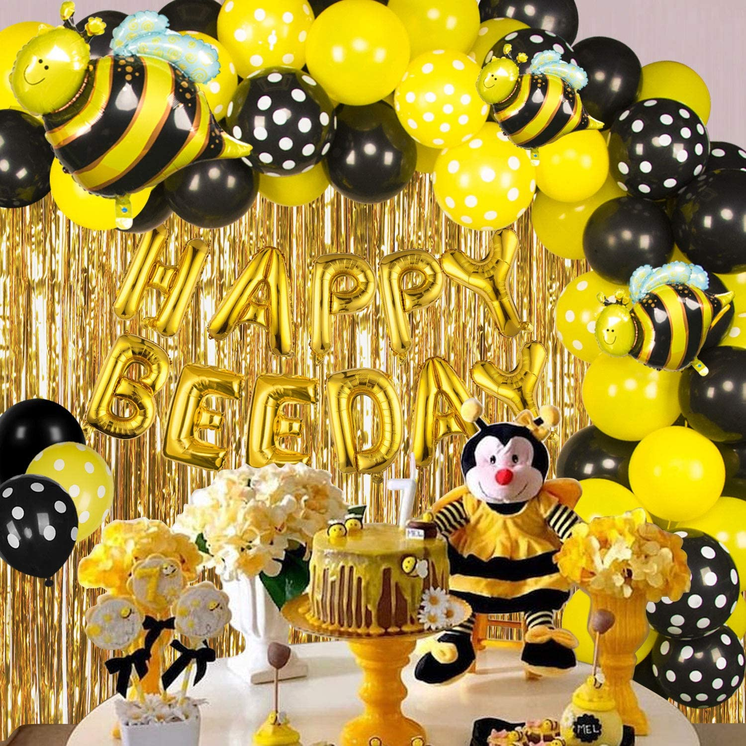 bee party decorations with gold foil fringe curtain 66pcs bee day balloons with bumble bee balloons black yellow balloons for bee baby shower
