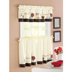 Curtains For The Kitchen Chair Cushions Better Homes And Garden Coffee Window Set Of 2 Walmart Com